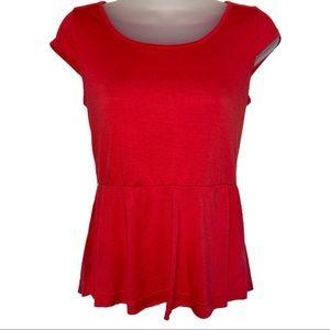 Red Orange Peplum Tee Zip Back Top Shirt